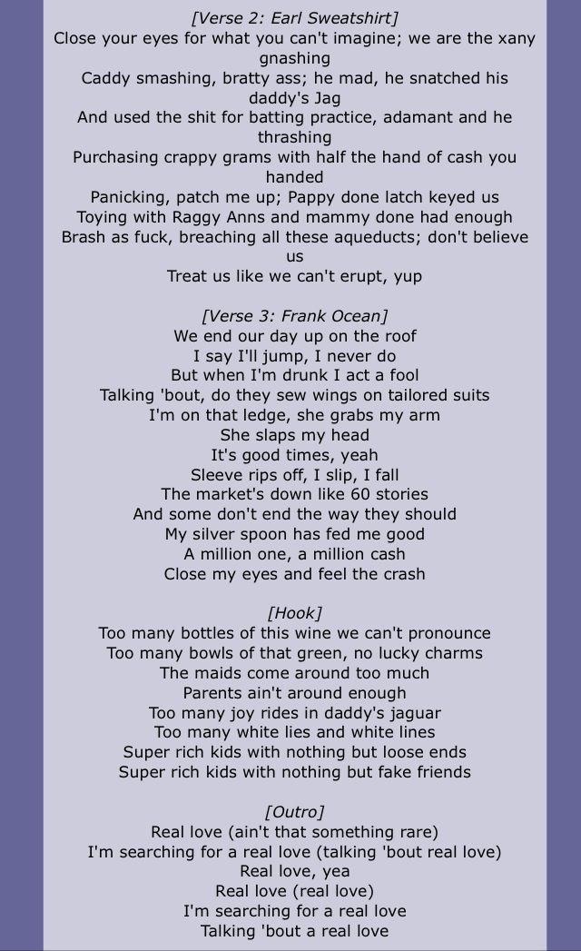 Part 2 Frank Ocean Feat Earl Sweatshirt Super Rich Kids Lyrics In
