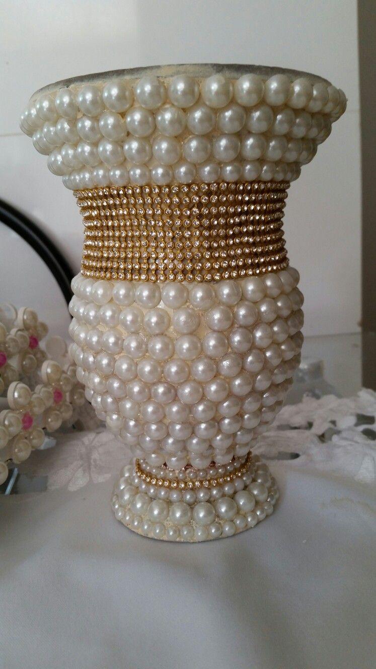 Jarrones decorado porongo y termos perlas jarrones for Jarrones de vidrio decorados