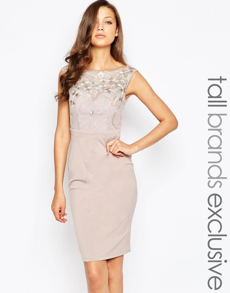 Little Mistress Tall Bardot Pencil Dress With Embrodiered Detail
