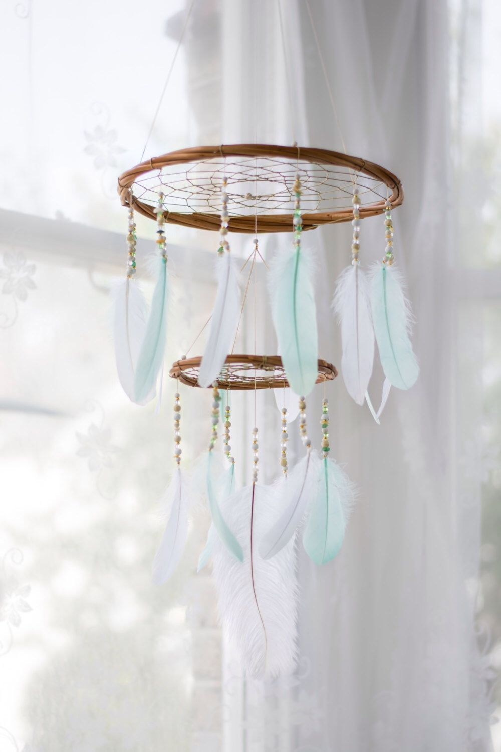 Mint and white feather mobile chandelier bohemian nursery mobile mint and white feather mobile chandelier bohemian nursery mobile nursery hanging decoration baby shower gift arubaitofo Gallery