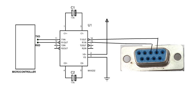 Rs232 Connector Example Circuit Electronica Terminal