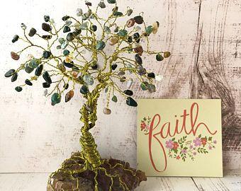 Große Edelstein-Baum, Fancy Jaspis Perlen, Draht Baum Skulptur ...