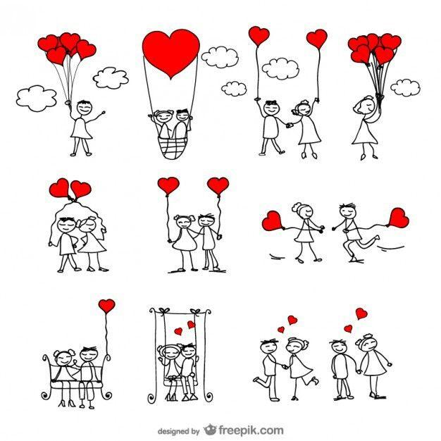 Enamorados Dibujo De Munecos Figura Con Palos Manos Dibujo