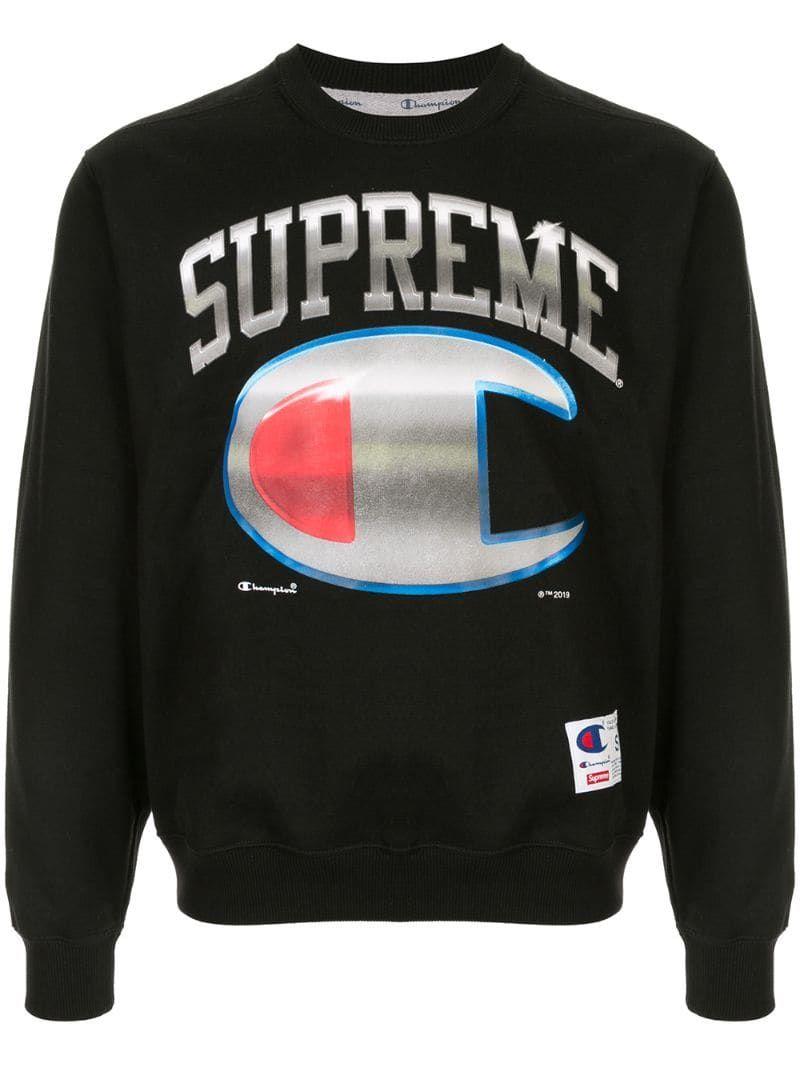 Supreme Champion X Sweatshirt In Black Modesens Supreme Sweatshirt Sweatshirts Black Sweatshirts [ 1067 x 800 Pixel ]