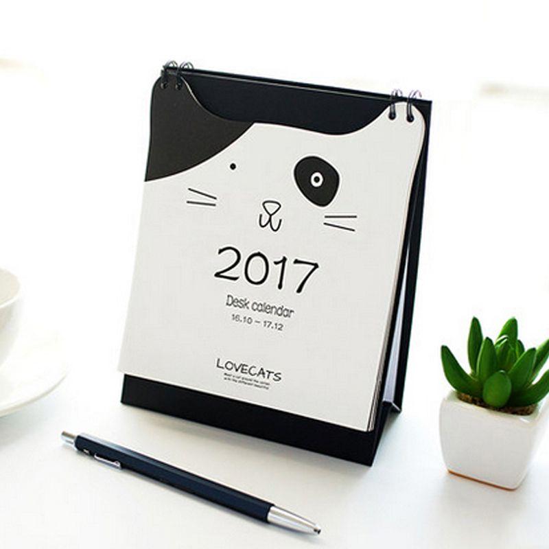 2017 Lucu Kawaii Kartun Hitam Putih Kucing Desain Desktop ...