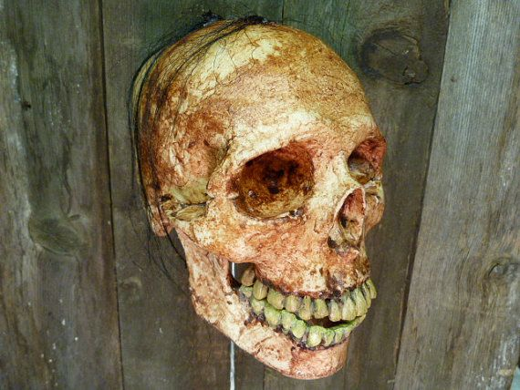 creepy skull horror prop halloween decoration skull with movable jaw haunted house decoration rotten skull skull with hair scary