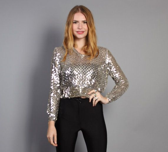 vintage 70s Silver Metallic SEQUIN Knit TOP #holidayfashion #holidaystyle