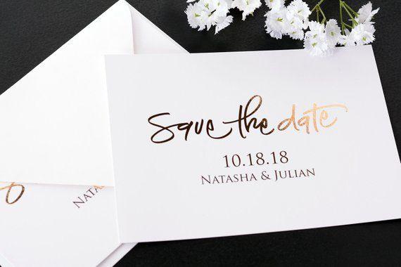 #satd-137 Metallic Wedding Cards Metallic Foil Save the Date Cards Beautiful Gold Foil Save the Dates Wedding Announcement Cards