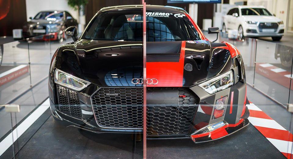 Half Road Car Half Raceer Audi R8 On Display In Neckarsulm With