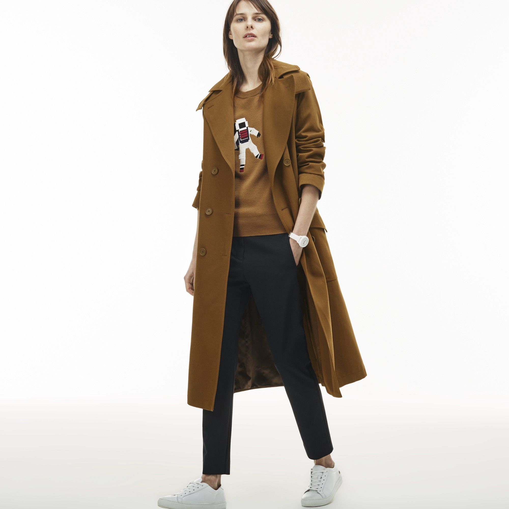 51fb47df575 LACOSTE Women s Detachable Hood Gabardine Wraparound Trench Coat - DARK  RENAISSANCE BROWN.  lacoste  cloth