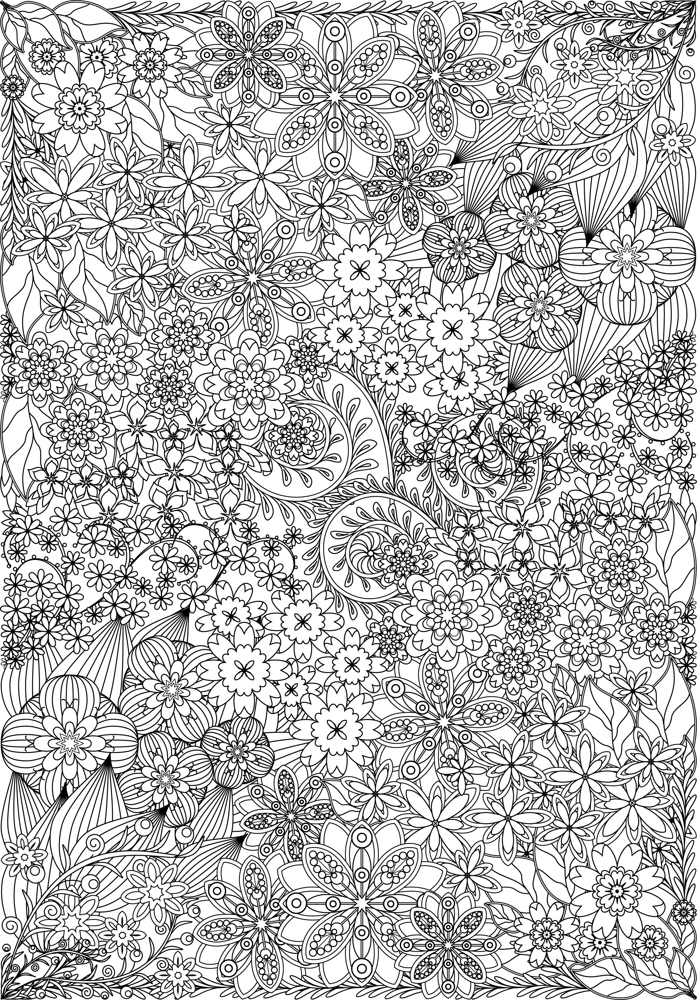 Coloring Page Flowers And Plants For Meditation