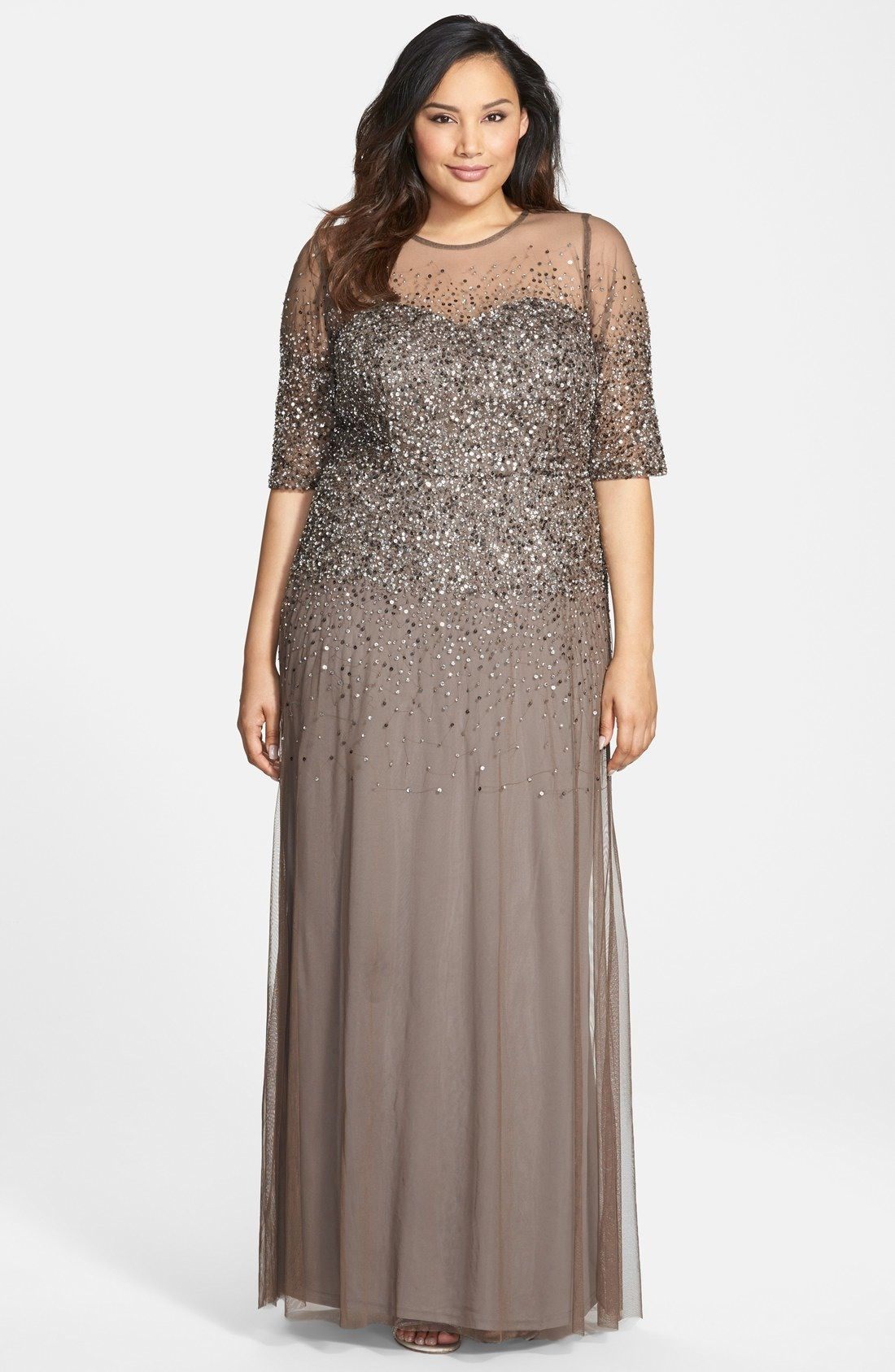 Mother of the Bride Adrianna Papell Beaded Illusion Gown (Plus Size ...