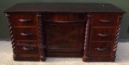Victorian Flame Mahogany Kneehole Desk