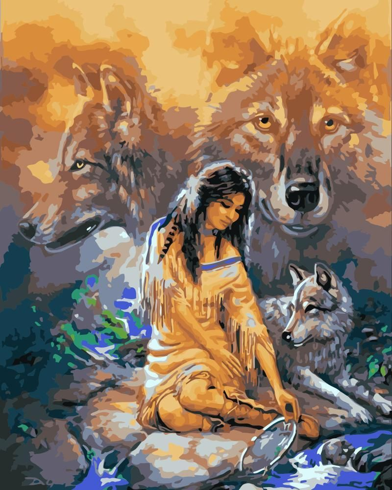 Wolf Diy Paint By Numbers Kits WM1740 in 2020 Painting