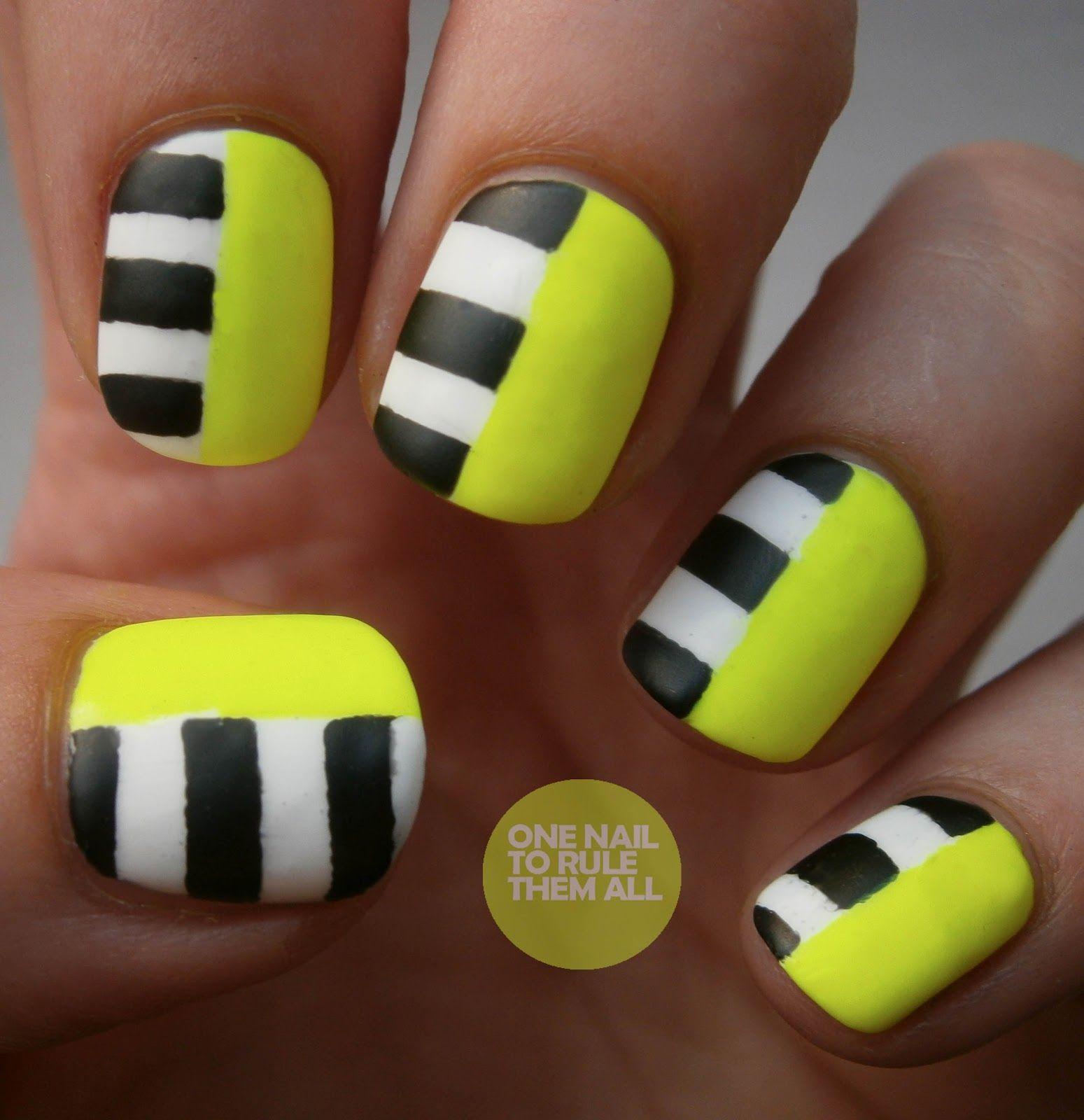 Neon black and white stripes nail designs pinterest neon