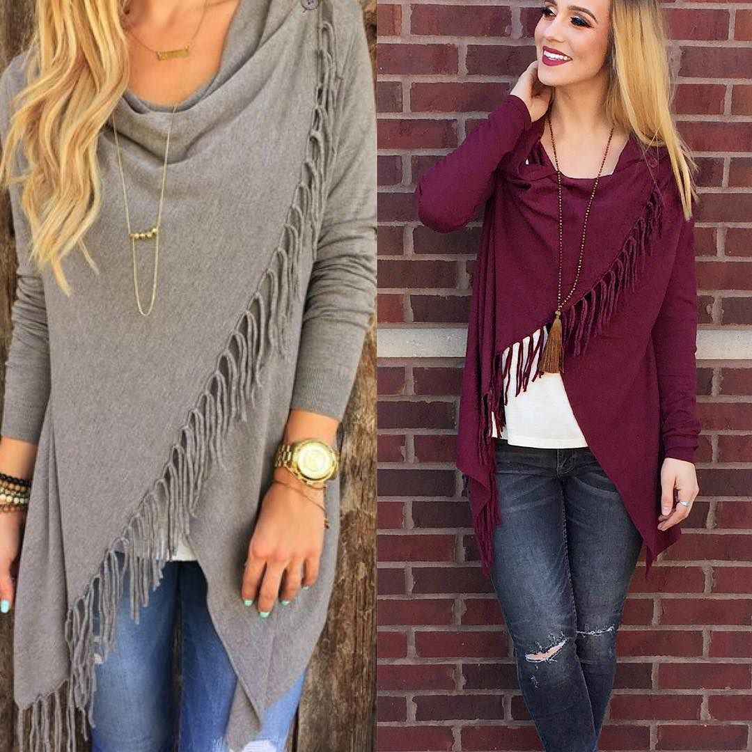 #WePinnedItWednesday is back and we are lusting after this fringe cardi! Perfect layering piece for the cold mornings then warm afternoons! #shopamelias #pinterest