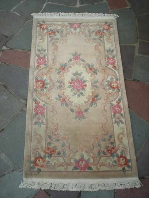 Dusty Rose w// Blue Green Accents Weave Pattern Dollhouse Miniature Rug Pink