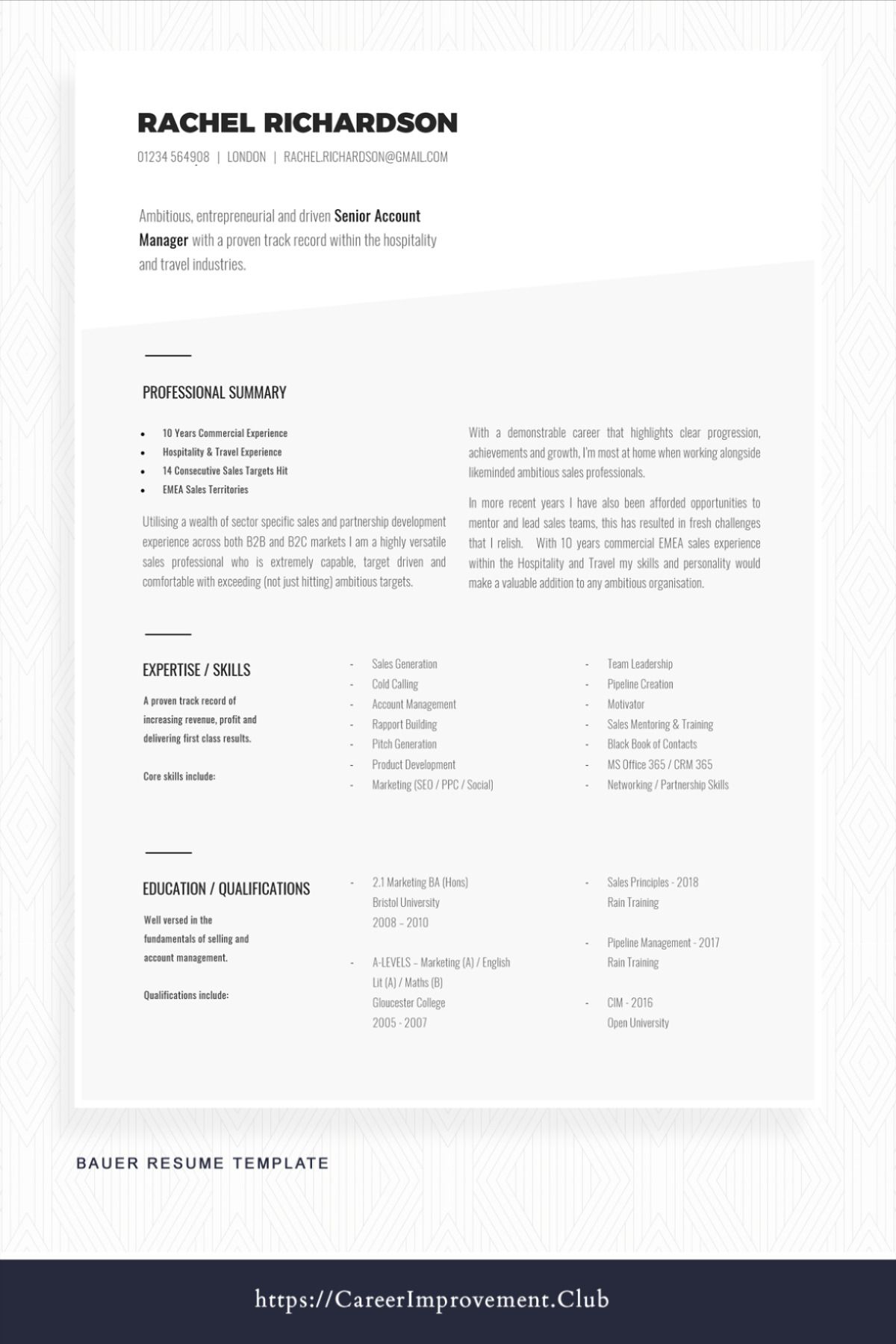 Professional Resume Template For Word Professional Resume Example Including Advice Matching Cover Letter Reference Templates Printable For Word Bauer Professional Resume Examples Resume Template Professional Job Resume Template