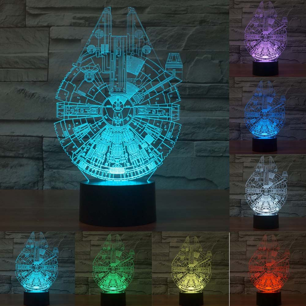 Millennium Falcon Light Star Wars 3d Star Trek Decor Bulbing Lamp