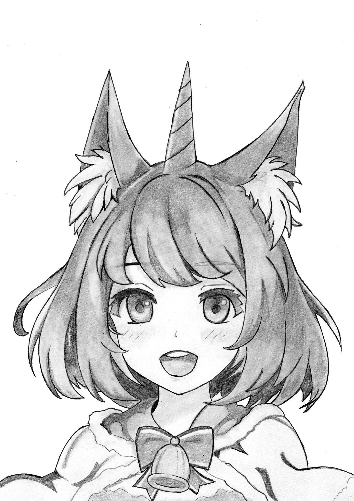 Drawing Cute Anime Unicorn Girl In 2020 Anime Drawings Anime Character Drawing Anime Face Drawing
