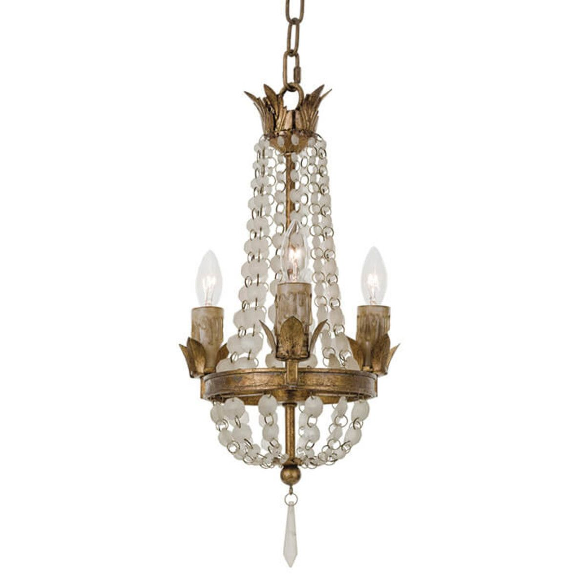 Mini vintage chandelier with frosted white crystals bathroom