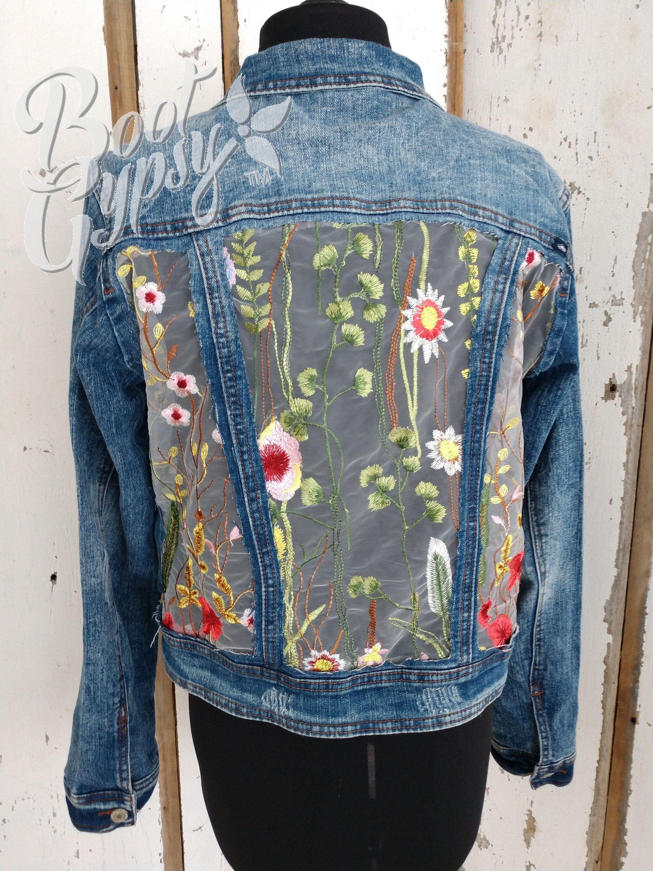 Upcycled Jacket Jean Jacket Tulle Floral Funky Jacket Boho Denim Jacket Refashion Party Denim Fashion Upcycled Jackets Boho Denim [ 3000 x 2250 Pixel ]