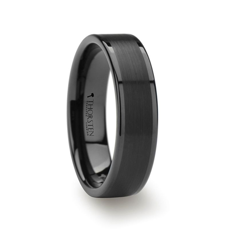 Vulcan Flat Black Tungsten Ring With Brushed Center Polished Edges 4mm 12mm Black Tungsten Rings Black Tungsten Carbide Ring Tungsten Ring
