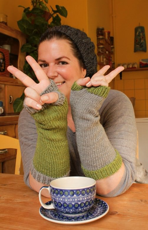 Photo of Knit simple colorful arm warmers
