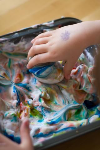 Tie Dye Easter Eggs  Shaving cream with food coloring or artist