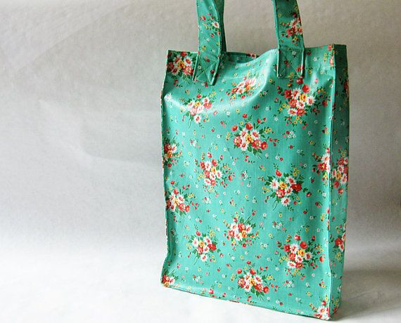 Mint green laminated tote bag  classic floral by oktak on Etsy, $33.00