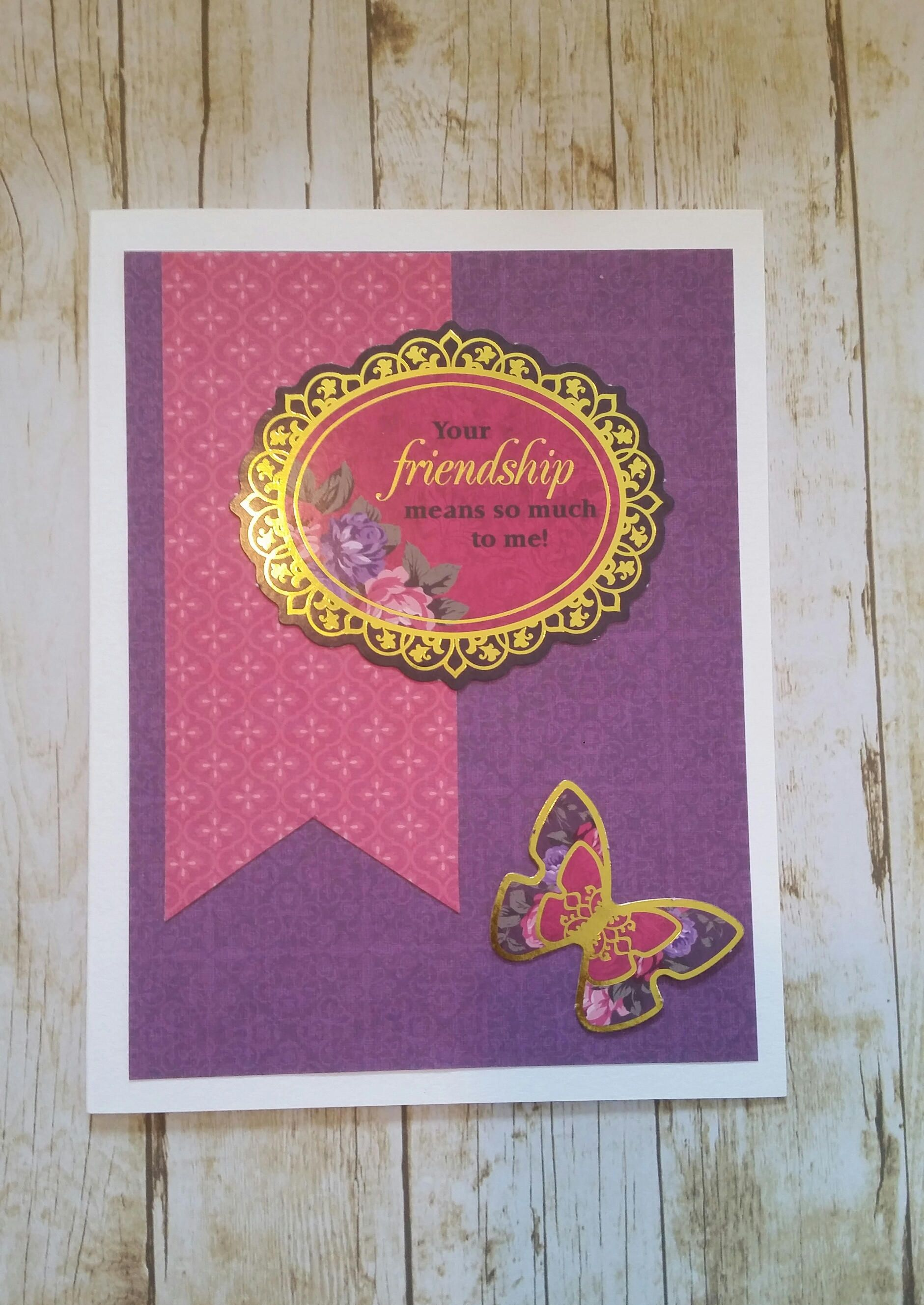 Your friendship means so much to me handmade blank greeting card your friendship means so much to me handmade blank greeting card purple pink gold kristyandbryce Image collections