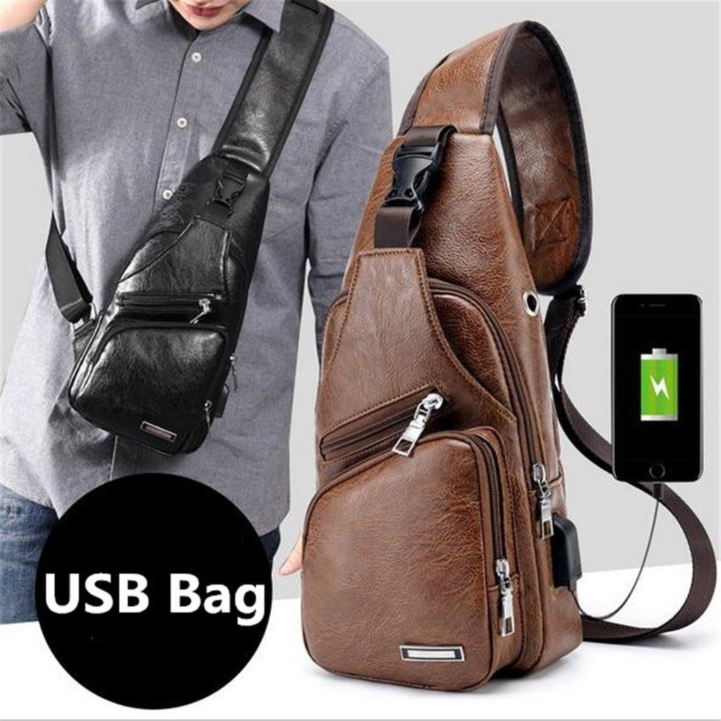 Real Leather USB Sling Bag For Men Shoulder Sports Cross Body Pouch Chest Pack