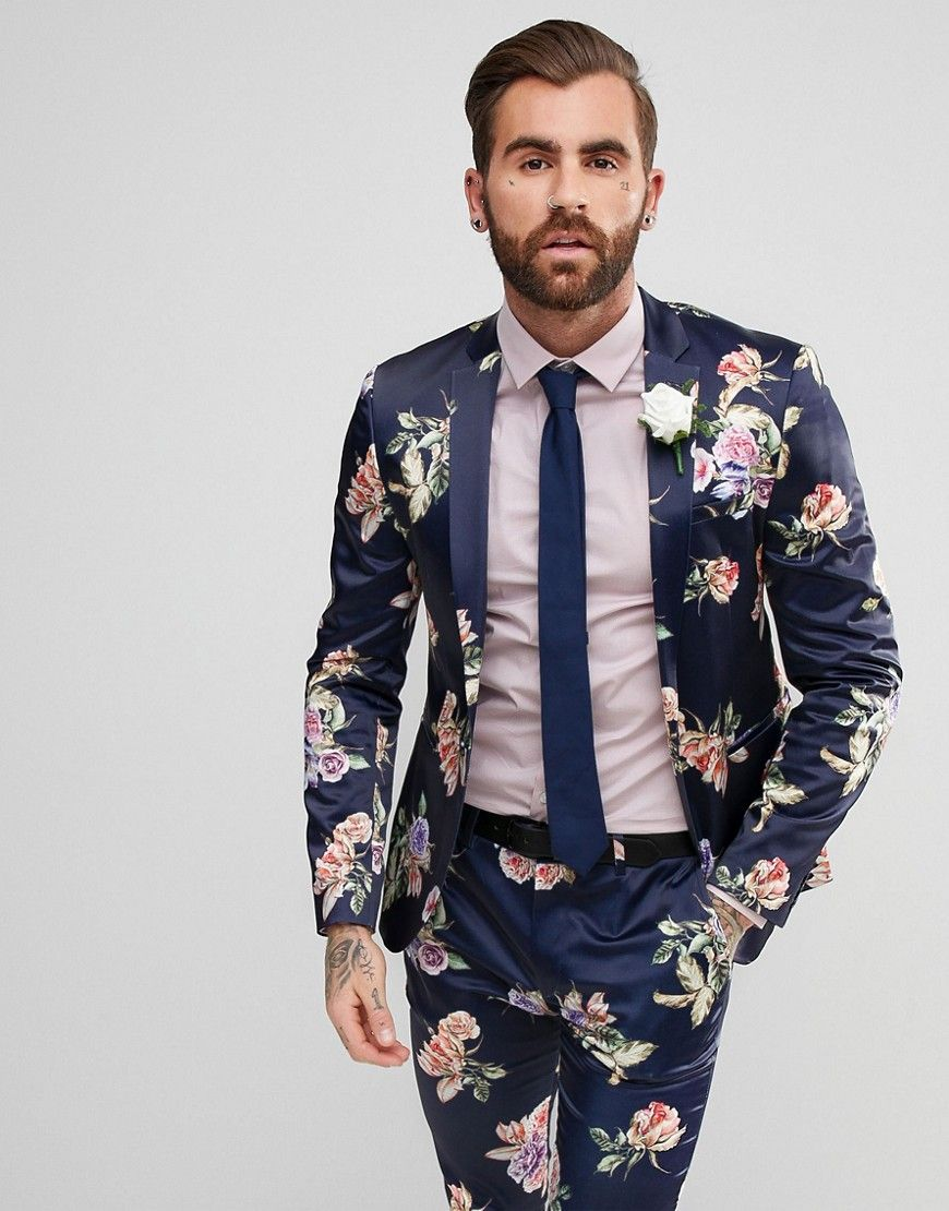 feec54f1c8 ASOS WEDDING Super Skinny Suit Jacket With Navy Floral Print - Navy ...
