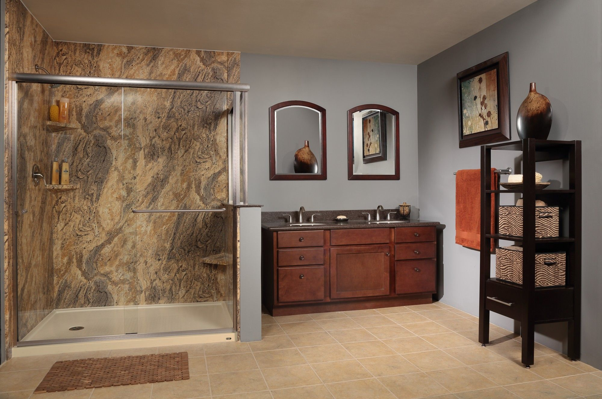 re bath low threshold shower base with adara granite wall surround re bath low threshold shower base with adara granite wall surround system learn more