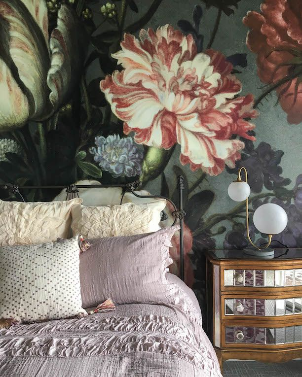 Bedroom With Oversized Floral Mural Wallpaper