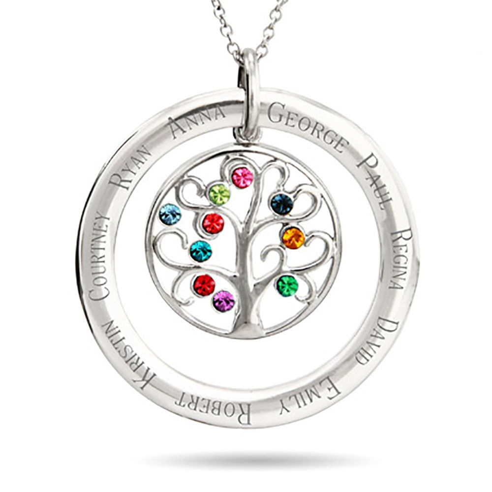 10 Stone Personalized Birthstone Crystal Family Tree Pendant Family Tree Necklace Tree Necklace Grandmother Necklace
