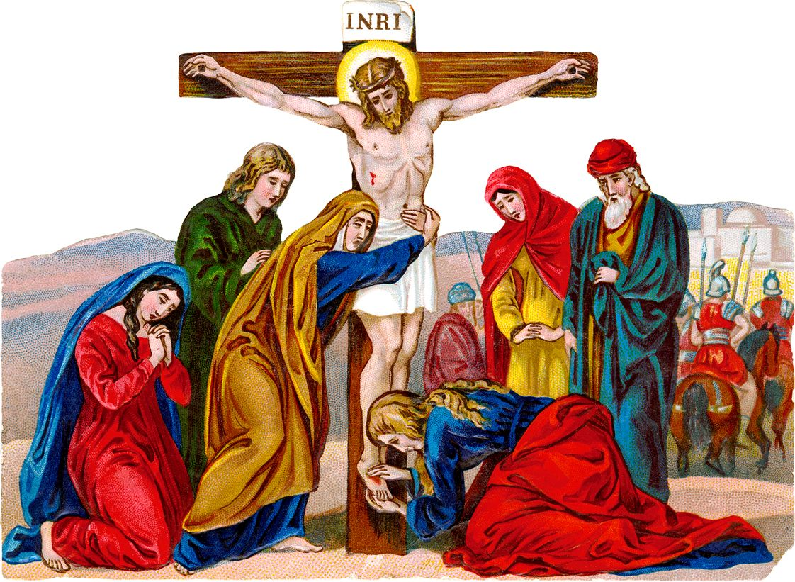 antique catholic holy cards clip art crucifixion of jesus a 19th century image from a victorian  [ 1122 x 821 Pixel ]