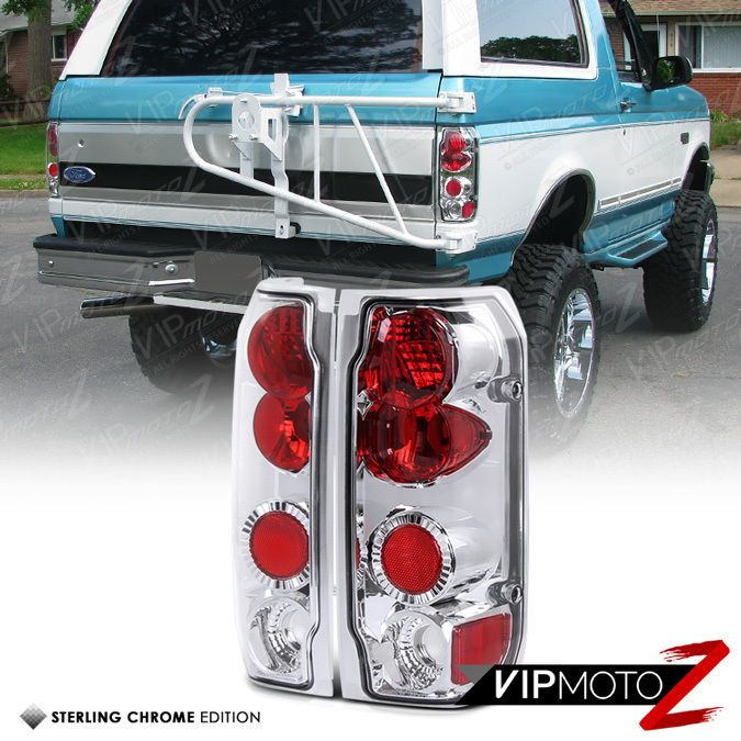 L R Crystal Clear Red Chrome Tail Light Lamps Ford 1989 1996 F150 1992 96 Bronco Tail Light Lamp Light Bronco