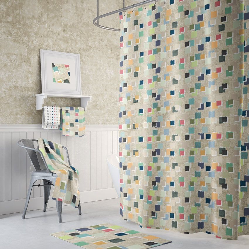 Extra Long Shower Curtain Abstract Shower Curtains Geometric