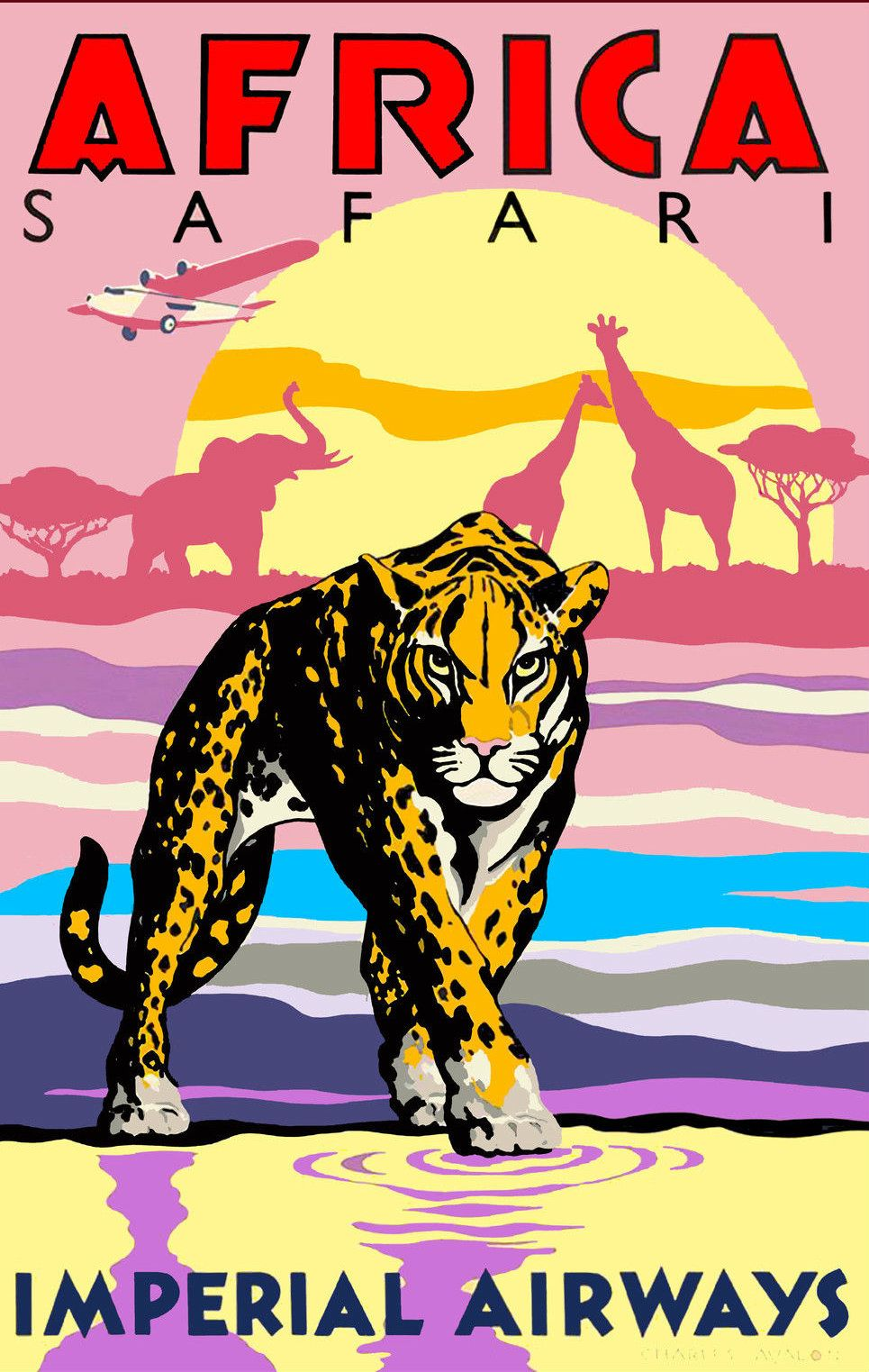 KENYA VINTAGE STYLE REPRODUCTION TRAVEL POSTER Choice of sizes.