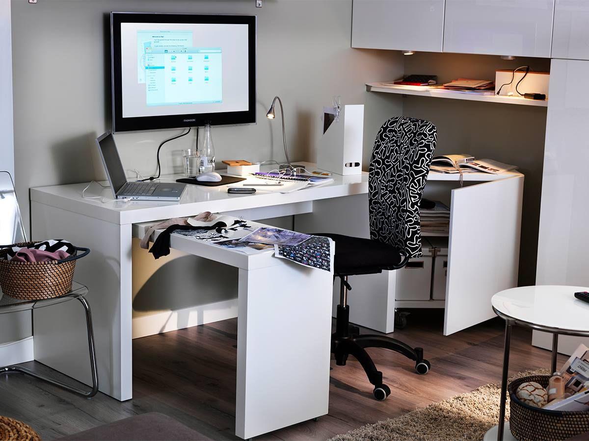 Desk And External Monitor On Wall Ikea Malm Desk White Paneling Ikea Desk