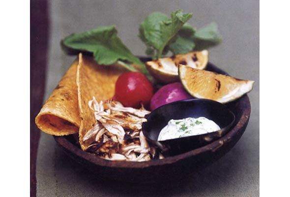 Tequila-Lime Chicken Tacos with Charred Limes