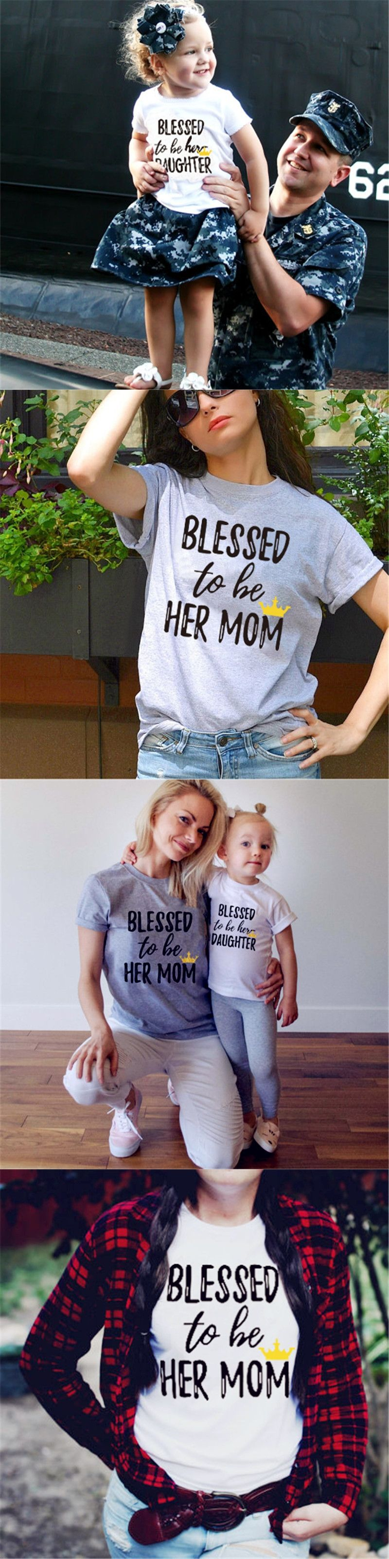 472c7cc315d Blessed to be Her Mom and Daughter Family Matching Shirt Casual T-shirt  Tops Clothes Outfits White Cotton Short Sleeve O neck