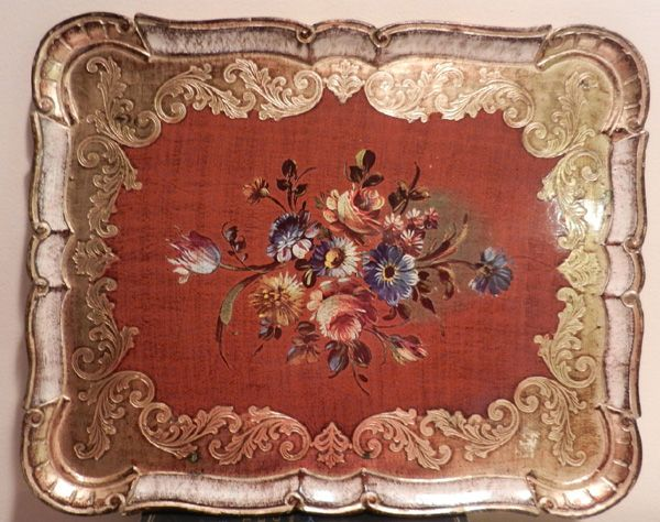 antique red and gold tray
