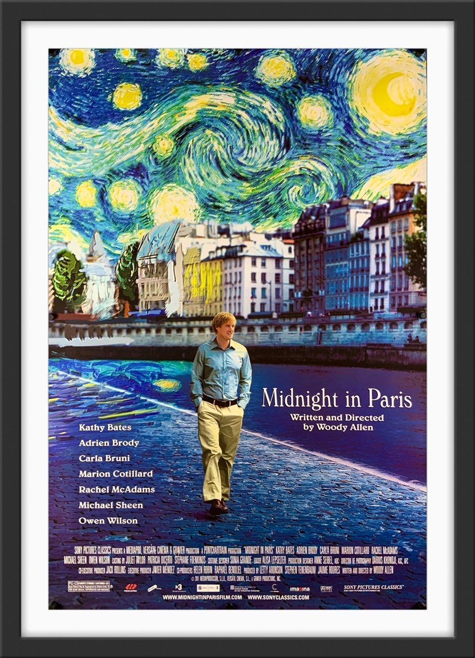 """Condition: Very Good. Folded, as issued. Free shipping within the UK. A low flat rate for the rest of the world. Size: 102 cm x 69 cm (27 in x 40 in) A beautiful and guaranteed original one sheet movie poster from 2011 for Woody Allen's romantic comedy """"Midnight In Paris"""", translated in French as """"Minuit a Paris"""". This wonderful movie (also written by Allen) in an absolute classic. An all-star cast, including Owen Wilson, Kathy Bates, Adrien Brody, Carla Bruni, Marion Cotillard, Rachel McAdams a"""