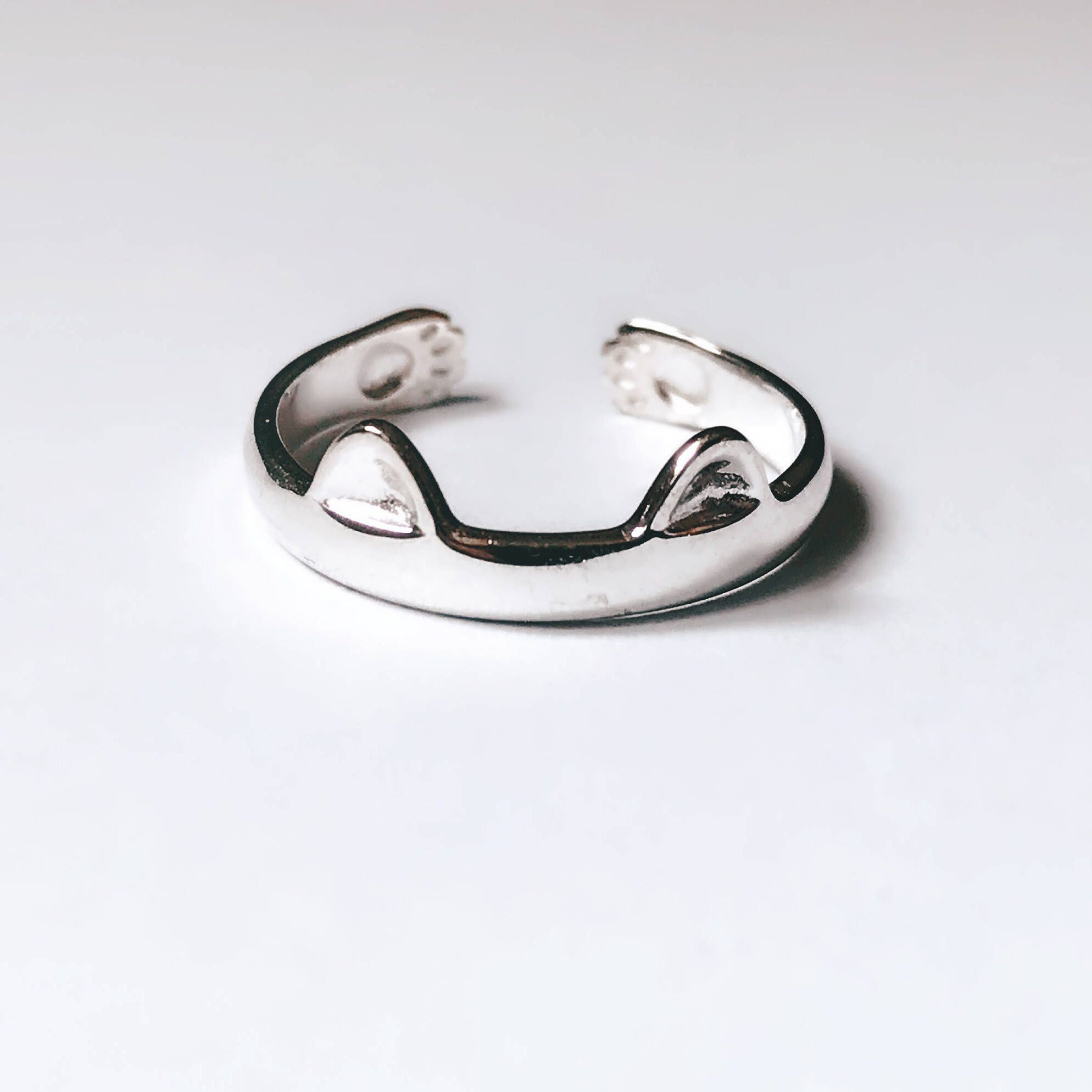 Cat ring sterling silver ring meow kitten animal ring jewelry