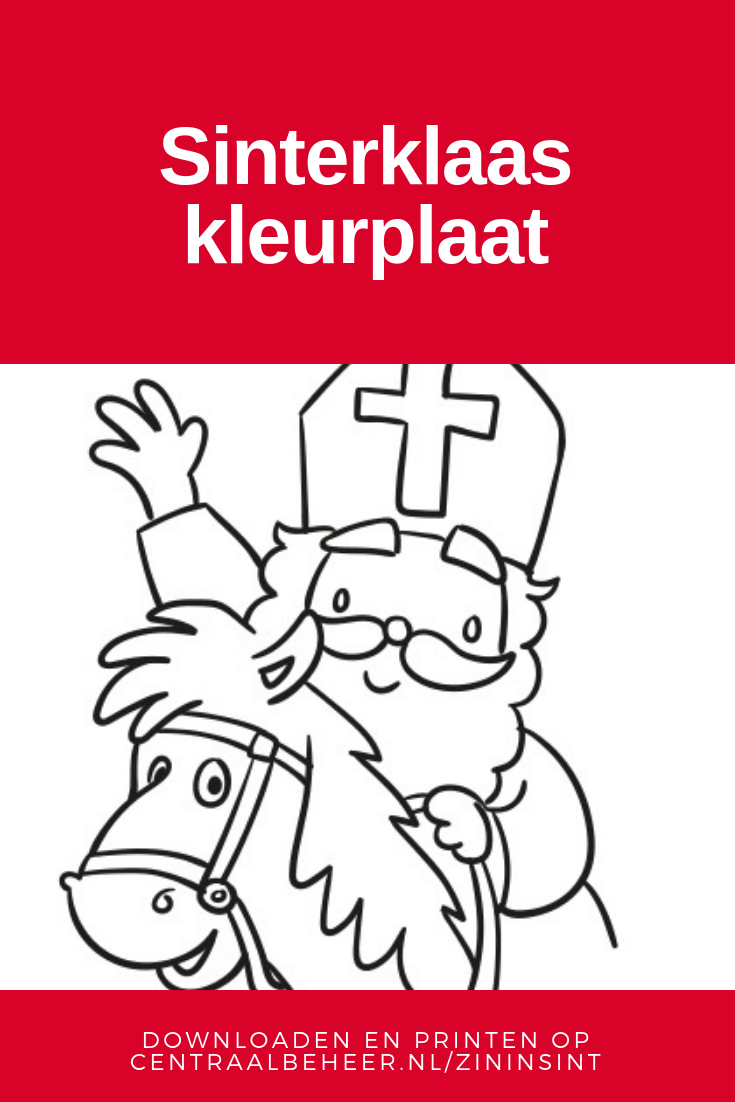 Paarden Kleurplaten Om Te Printen.Kleurplaat Van Sinterklaas Op Het Paard Downloaden Printen