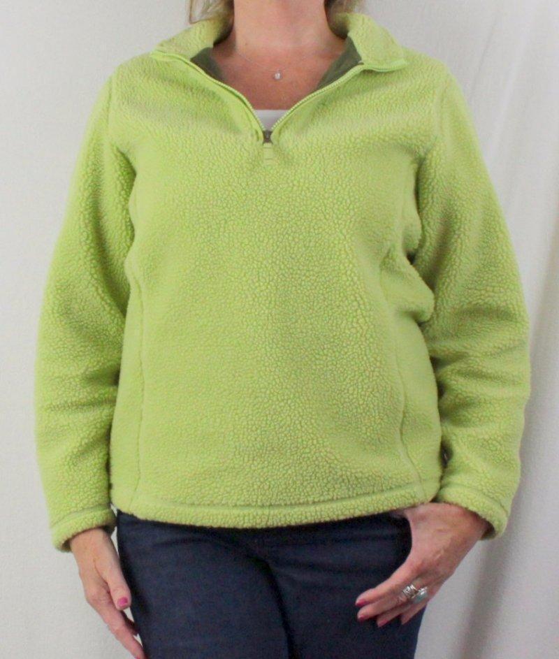 Lands End M 10 12 Fleece 1.4 Zip Jacket Lime Green Faux Sherpa Lined Womens #LandsEnd #FleeceJacket