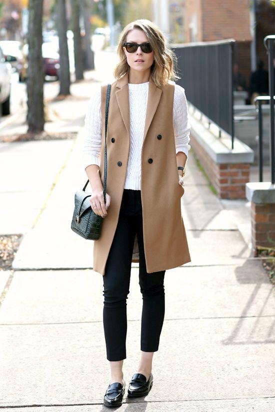 f1b43daf81f5 fall / winter - street chic style - street style - fall outfits - casual  outfits - work outfits - office wear - business casual - white sweater +  camel long ...