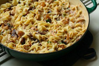 Tuna Noodle Casserole with Cremini Mushrooms and Scallions: Only $9 in ingredients, Serves 4. #10dollarandundermeals